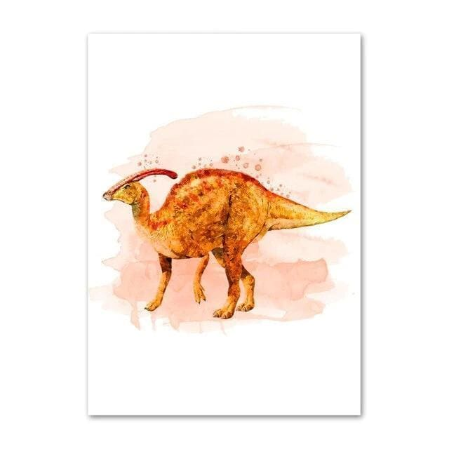 Parasaurolophus Watercolor<br> Printed Poster