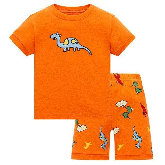 Orange Short Sleeve Dinosaur Pajamas