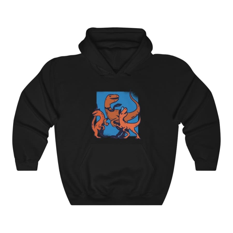 Dinosaur Hooded Sweatshirt Daddy Raptor - Black / L - Hoodie