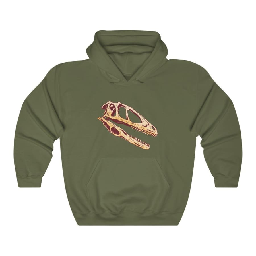 Dinosaur Hooded Sweatshirt Dino Skull - Military Green / L -