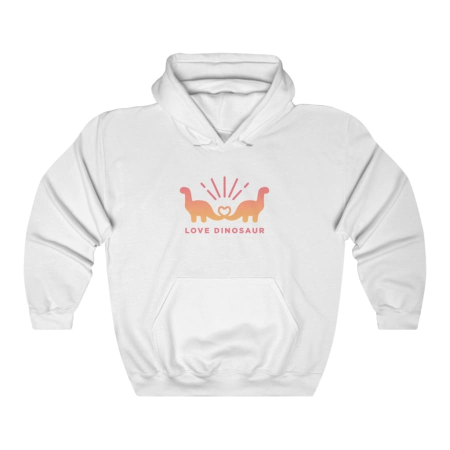 Dinosaur Hooded Sweatshirt For Women Love Dinosaur - White /