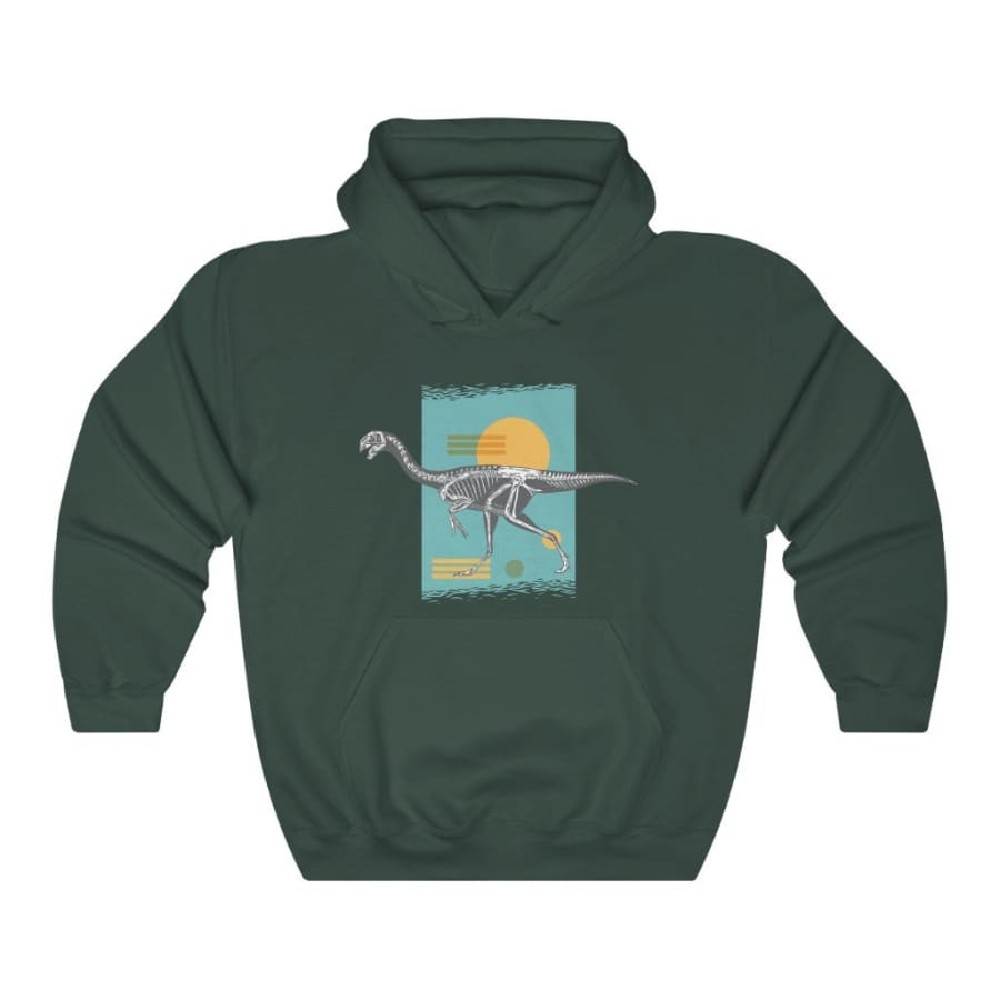 Dinosaur Hooded Sweatshirt Oviraptoridae - Forest Green / L