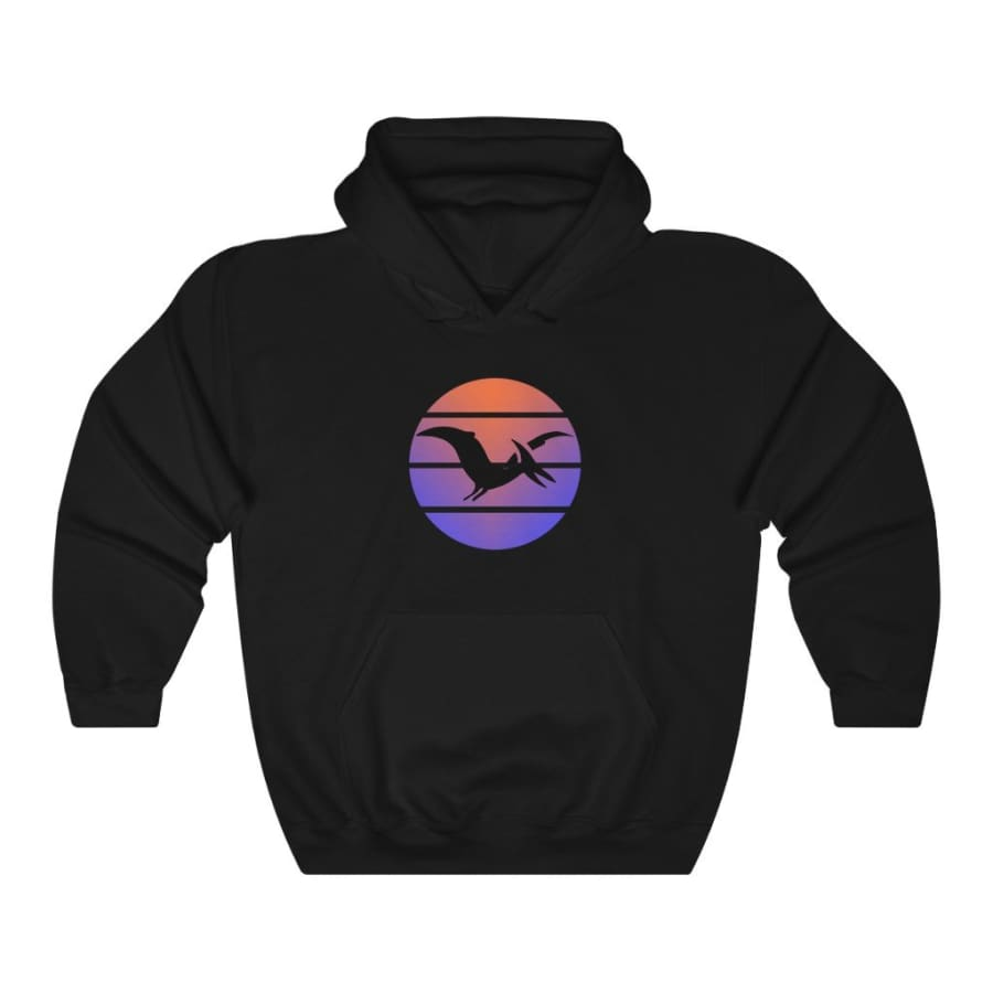 Dinosaur Hooded Sweatshirt For Women Pterodactyl Sunset -