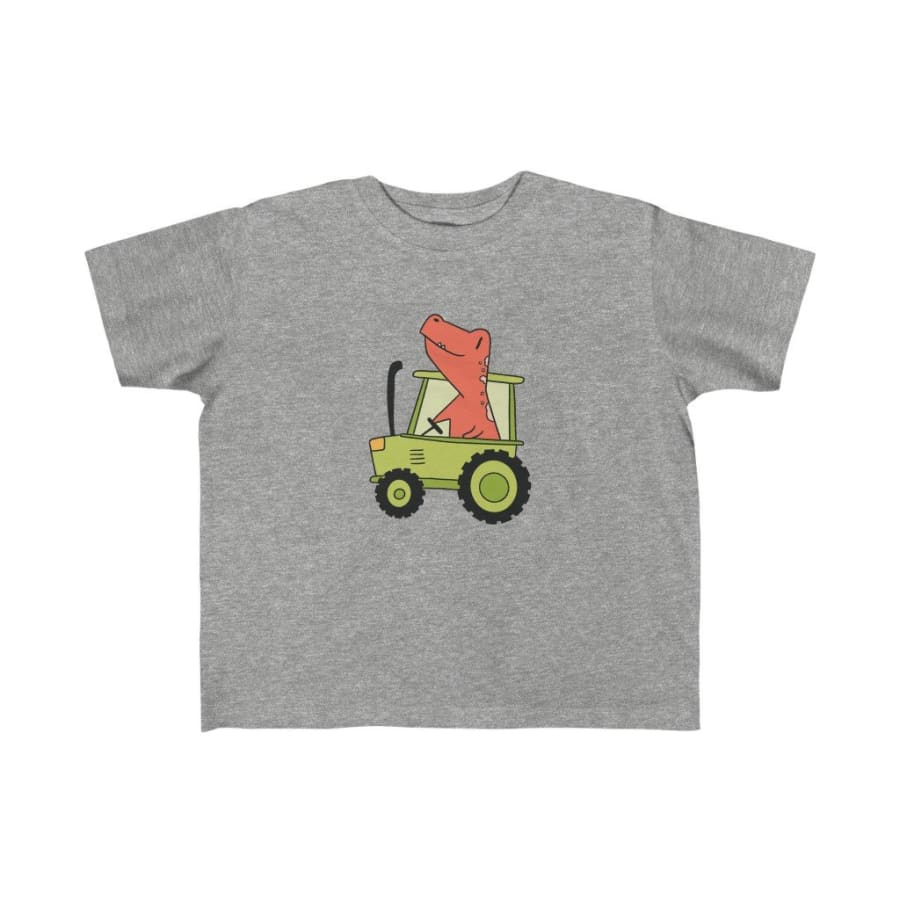Dinosaur Kids Tee Dino Tractor - Heather / 4T - Kids clothes