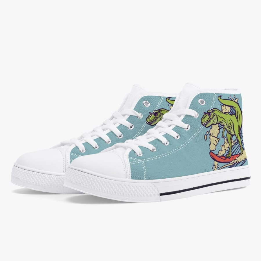 Dinosaur Surfing High-Top Shoes