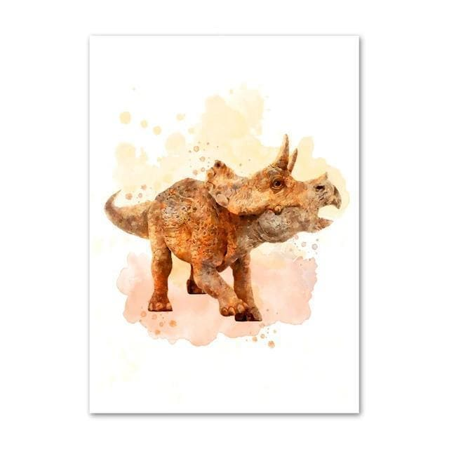 Triceratops Watercolor<br> Printed Poster