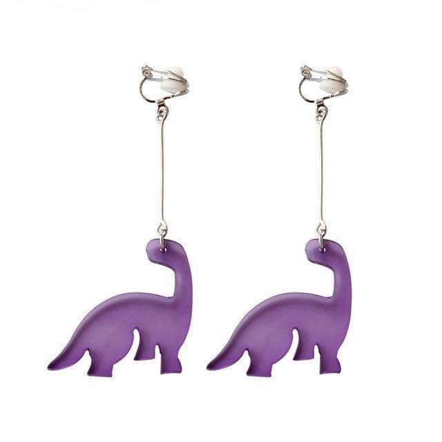 Purple Dinosaur Earrings