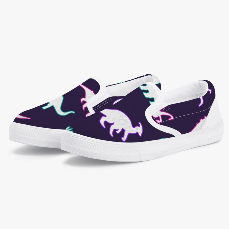 Neon Dinosaurs <br> Kids' Slip-On Shoes