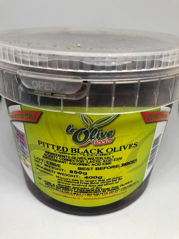 Leccino pitted black olives 400g