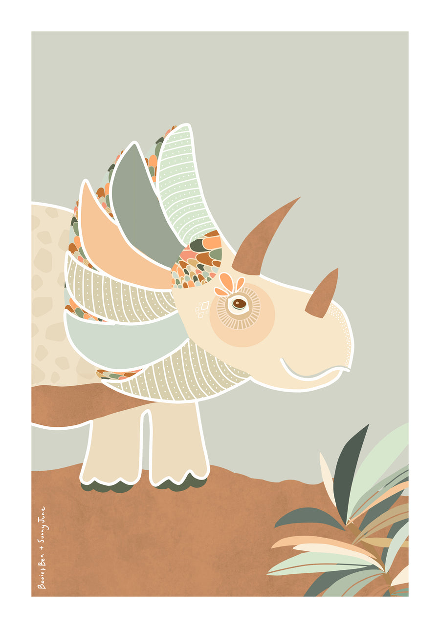 Art print // Triceratops Sage Jungle