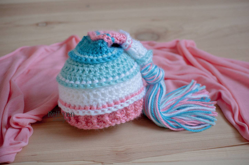 Aqua, White, Coral and Turquoise  Tassel Hat