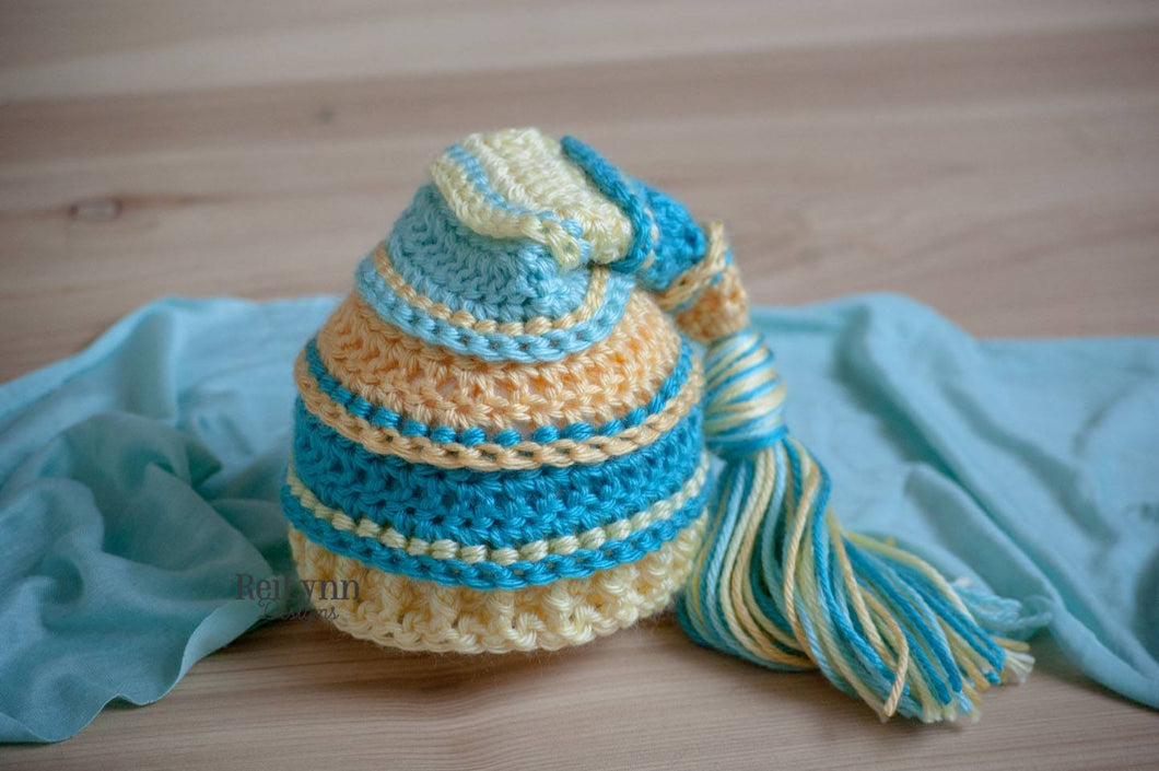 Yellow, Turquoise, Baby Maize and Aqua Tassel Hat