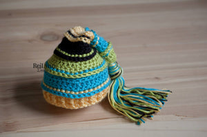 Chartreuse, Turquoise, Yellow and Black Tassel Hat
