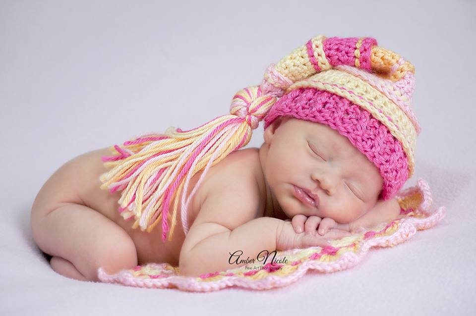 Pink, Baby Maize, Hot Pink and Yellow Tassel Hat