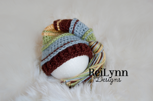 Sage, Light Country Blue, Brown and Yellow Tassel Hat