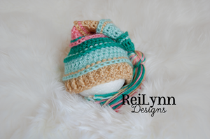 Teal, Aqua, Gold and Coral Tassel Hat