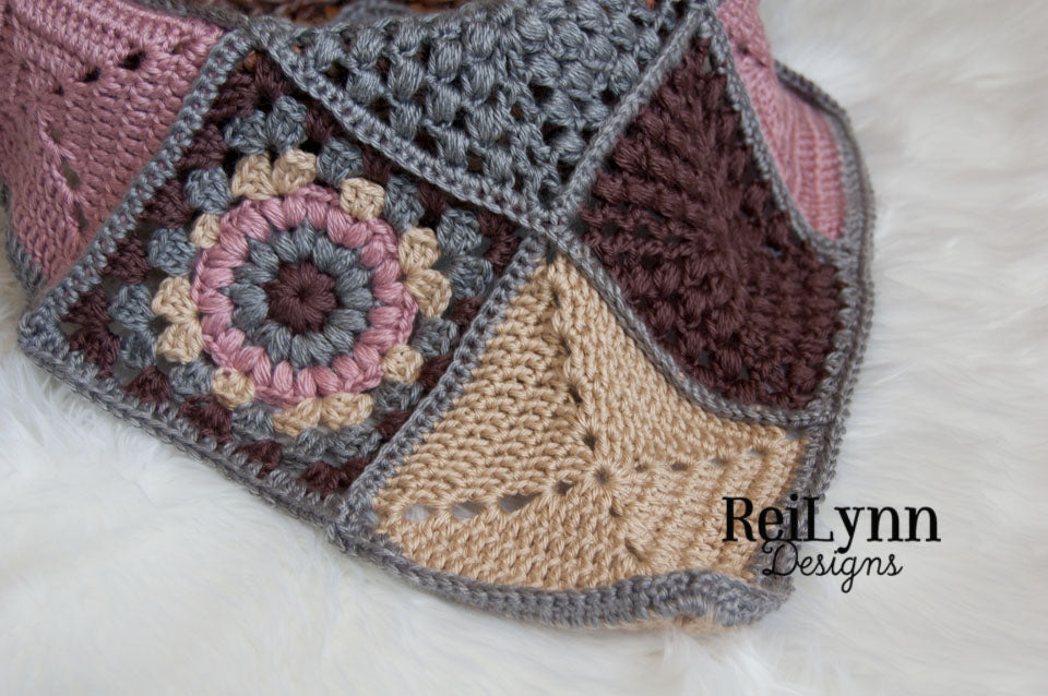 Mini Afghan in Dark Blush, Taupe, Gray and Bone