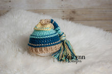Load image into Gallery viewer, Aqua, Ocean, Bone and Baby Maize Tassel Hat