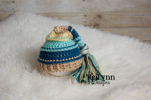 Aqua, Ocean, Bone and Baby Maize Tassel Hat