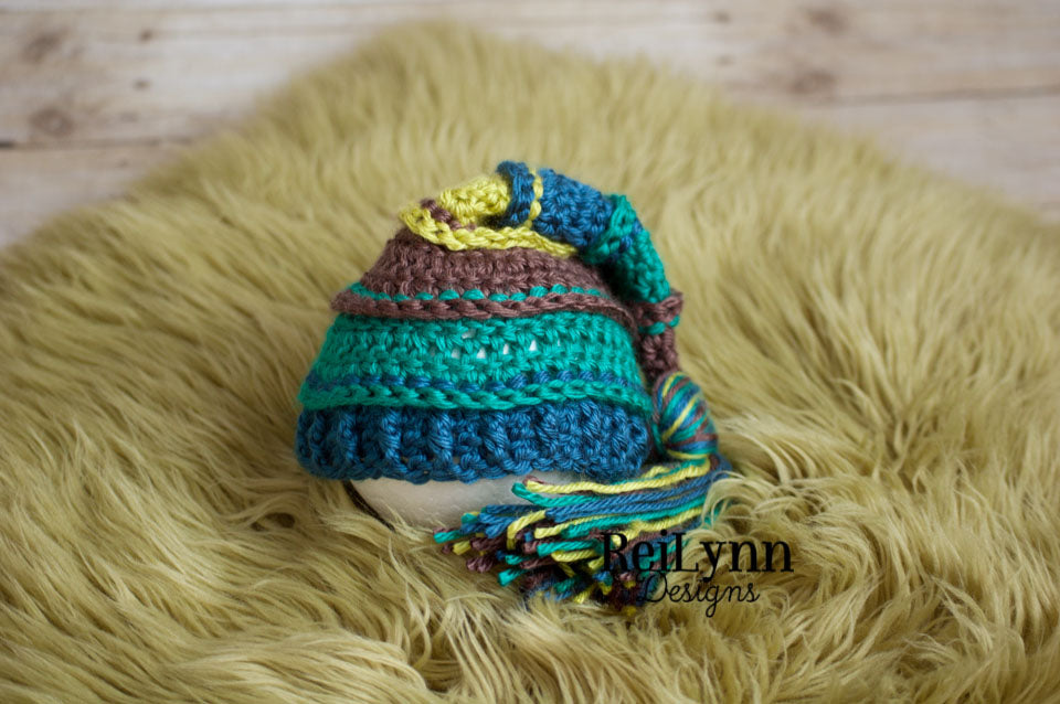 Taupe, Teal, Ocean and Chartreuse Tassel Hat