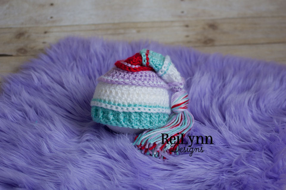 Lavender, White, Aqua and Red Tassel Hat