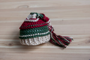Bone, Deep Red, and Evergreen Tassel Hat