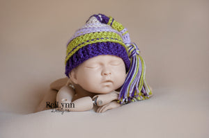 Lavender, Chartreuse, Purple and Beige  Tassel Hat