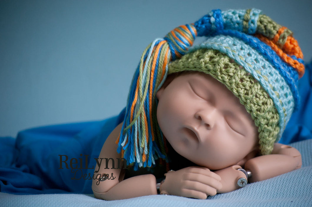 Blue, Aqua, Sage and Orange Tassel Hat