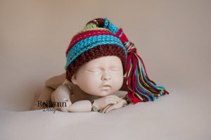 Red, Turquoise, Brown and Sage Tassel Hat