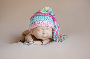 Hot Pink, Aqua, Pink and Lime Tassel Hat
