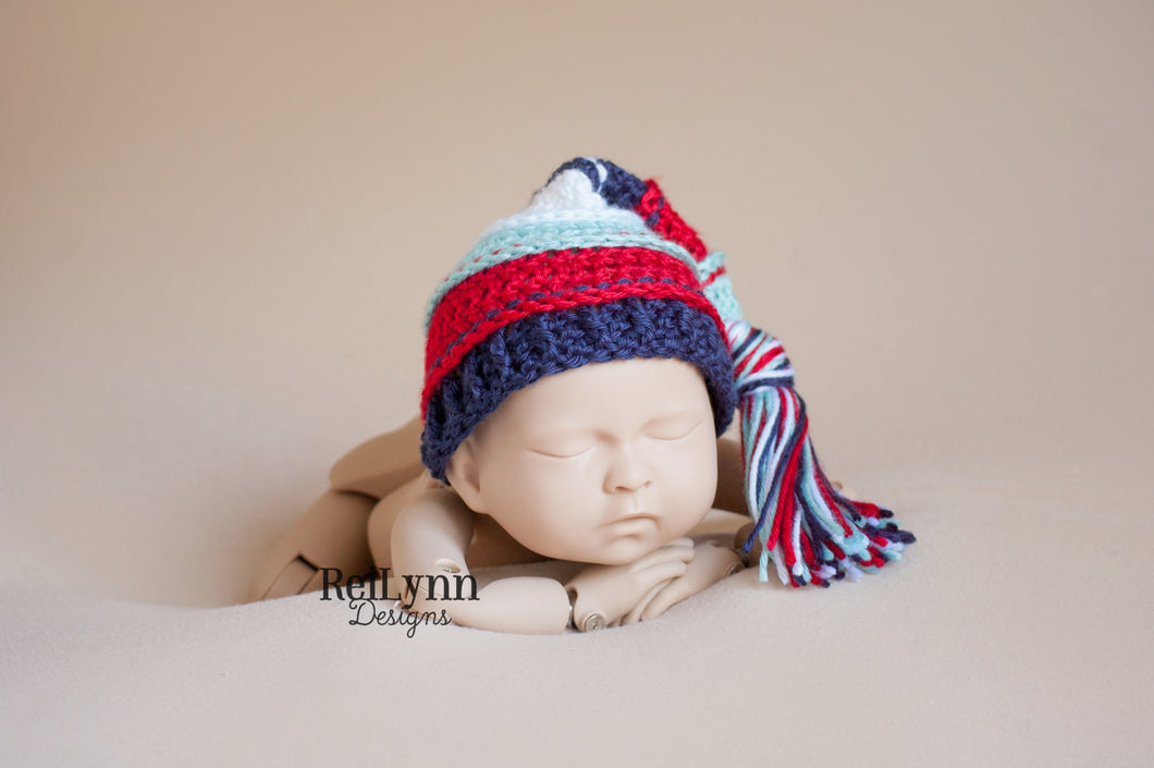 Aqua, Red, Navy and White Tassel Hat