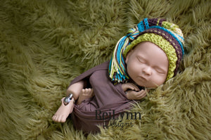 Blue, Taupe, Chartreuse, and Baby Maize Tassel Hat
