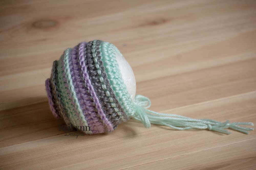 Lavender, Gray and Mint Bonnet