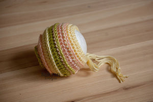 Chartreuse, Peach and Baby Maize Bonnet