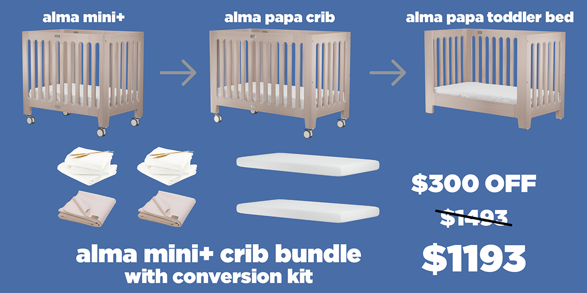 alma mini plus and papa crib conversion bundle
