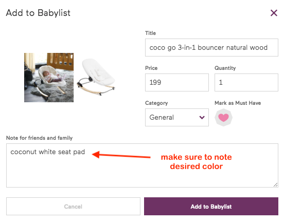 add to babylist detailed page