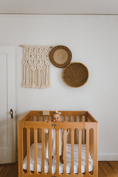 alma mini+ crib natural wood nursery
