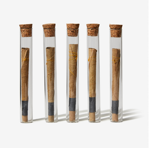 5 pre-rolled natural cones contained in vials