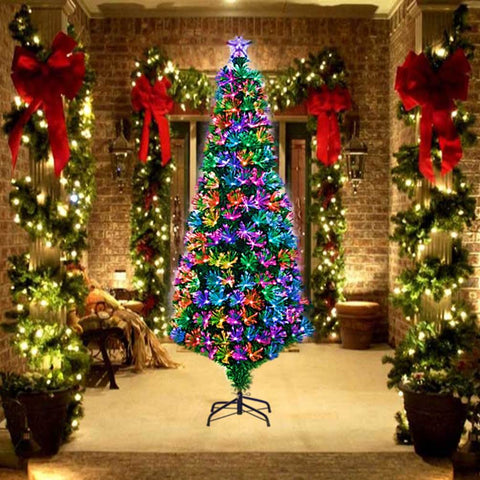 The color changing fiber optic lighting adds color and variety to any room where you display this 7ft snowy christmas tree