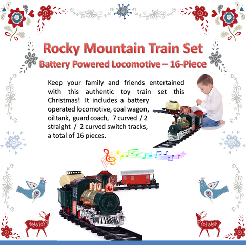 Our 16 piece christmas tree train will brighten any home with the battery powered locomotive train ornaments as it rolls around your christmas tree.  Cheering all ages as it goes on it's way to deliver christmas presents.
