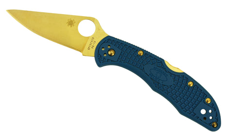 Spyderco Delica 4 Tactical - Blue Scales, Plain Edge, Golden Eagle Edition