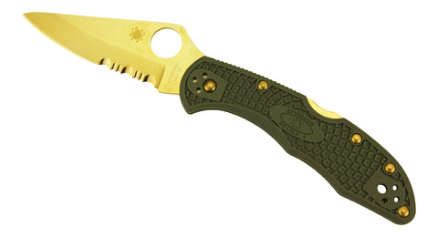Spyderco Delica 4 Tactical-Grey Scales, Combo Edge, Golden Eagle Edition