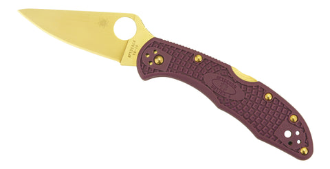 Spyderco Delica 4 Tactical - Pink Scales, Plain Edge, Golden Eagle Edition