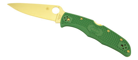 Spyderco Endura 4 Tactical- Green Scales, Plain Edge, Golden Eagle Edition