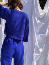Load image into Gallery viewer, Knitted Culotte Pant Electric Blue