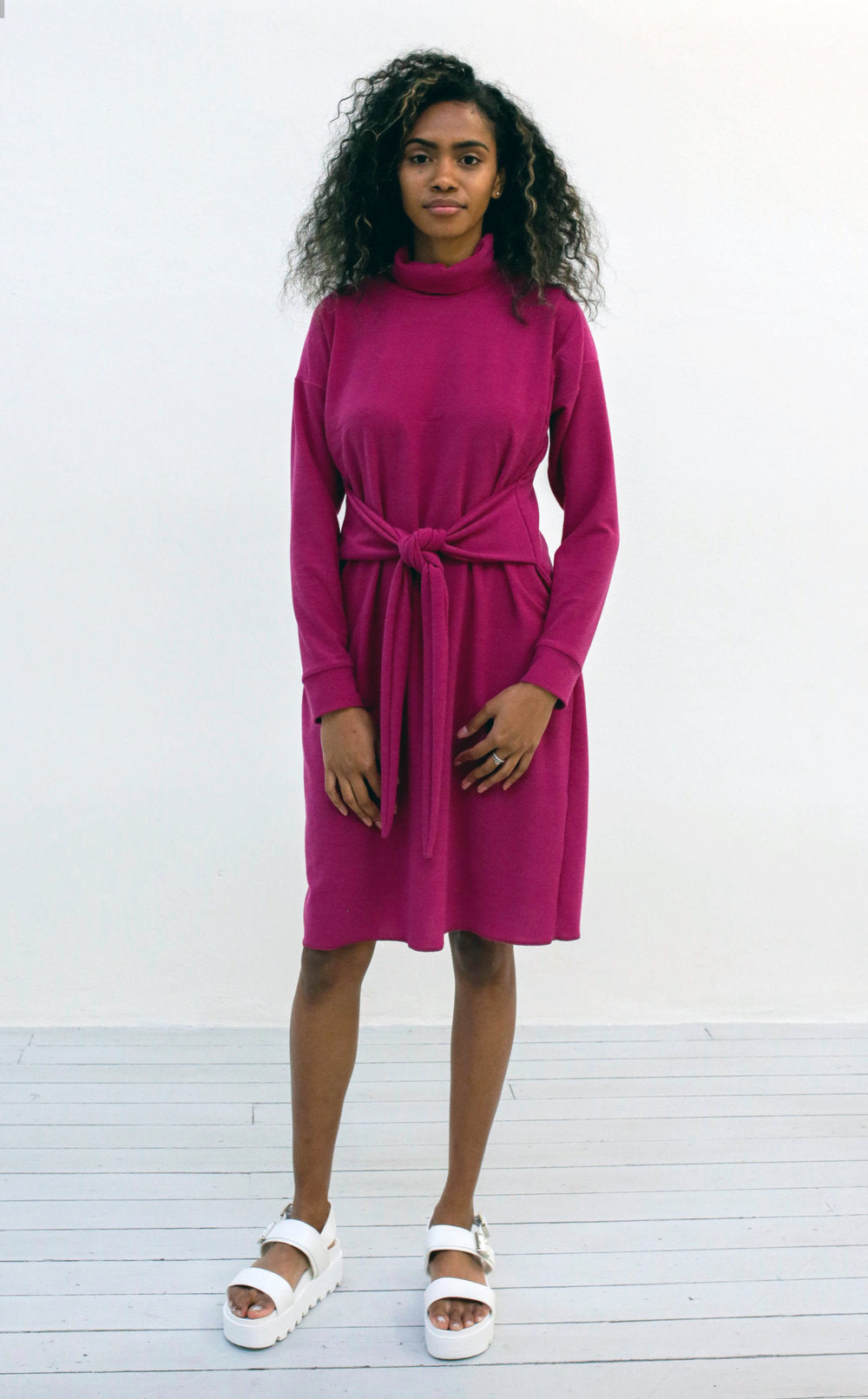 Waisted Turtle Neck Dress