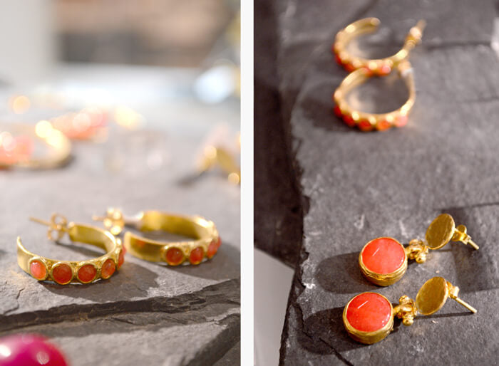 Ottoman Hands at the V&A Orange Agate Hoop Earrings and Orange Agate Drop Earrings
