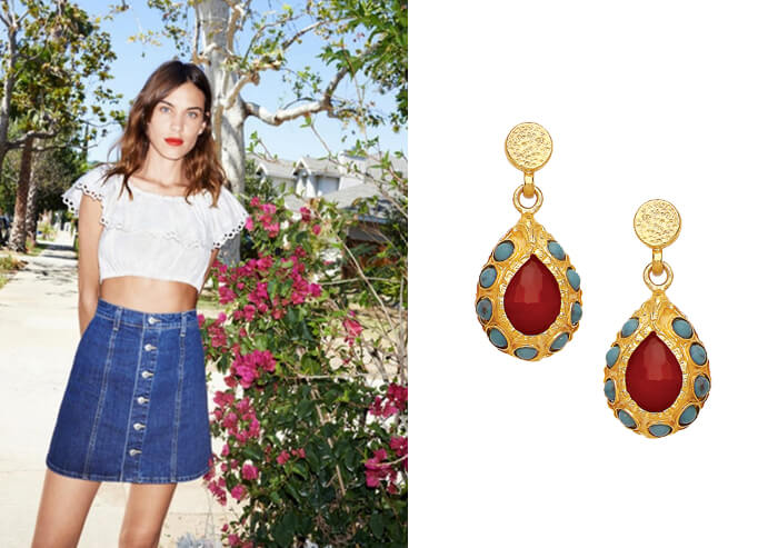 Alexa-Chung-Hot-Pink-Agate-and-Turquoise-Drop-Earrings-by-Ottoman-Hands