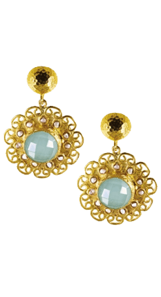 Aqua Chalcedony and Pearl Beads Flower Earrings