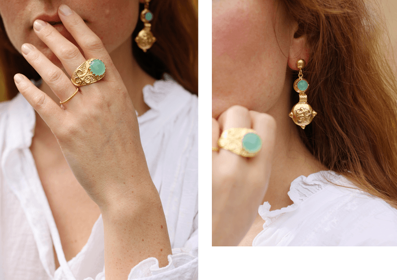 Augusta Ring and Flora Earrings